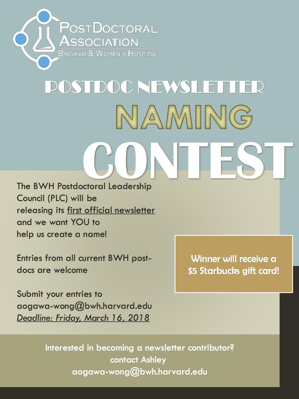 Postdoc Newsletter Naming Contest